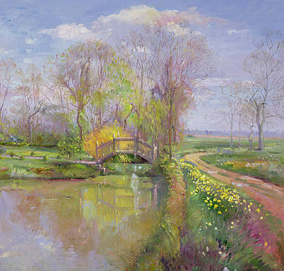 Daffodils Painting - Spring Bridge by Timothy  Easton