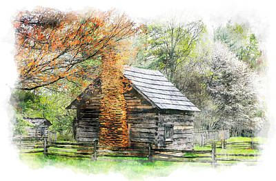 Pucketts Painting - Spring Cabin II - Blue Ridge Parkway by Dan Carmichael