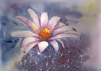 Painting - Spring Cactus Cross Between Christmas And Hedgehog by Sharon Mick