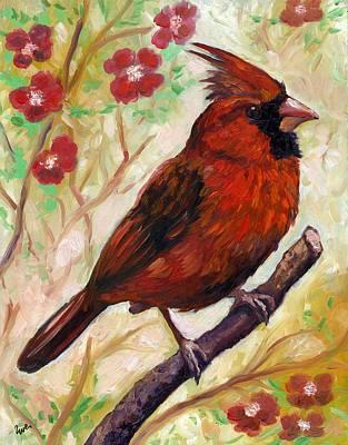 Spring Cardinal Print by Eve  Wheeler