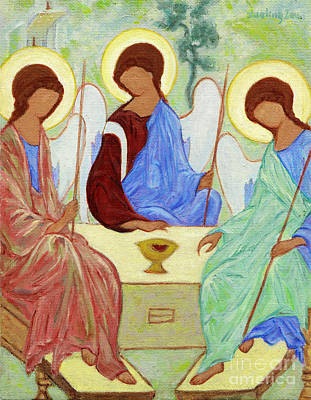Holy Trinity Icon Painting - Spring Celebration by Xueling Zou