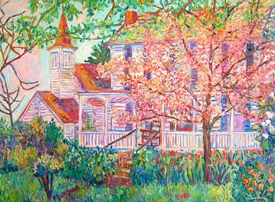 Spring Church Scene Art Print by Kendall Kessler