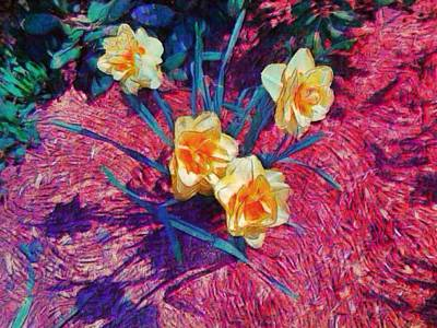 Painting - Spring Daffodils On Red - Horizontal by Lyn Voytershark