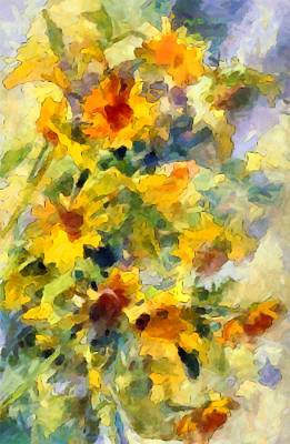 Impressionistic Digital Painting - Spring Daisy Impressions by Georgiana Romanovna