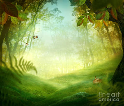 Park Scene Digital Art - Spring Design - Forest Meadow by Mythja  Photography