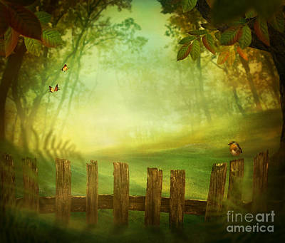 Mythja Digital Art - Spring Design - Forest With Wood Fence by Mythja  Photography