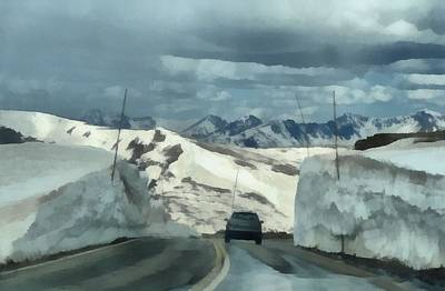 Spring Storm Painting - Spring Drive On Trail Ridge Road by Dan Sproul