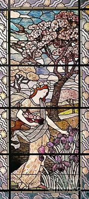 Lily Glass Art - Spring by Eugene Grasset