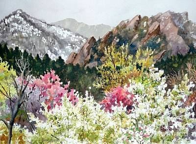 Snowy Mountains Painting - Spring Flatirons by Anne Gifford