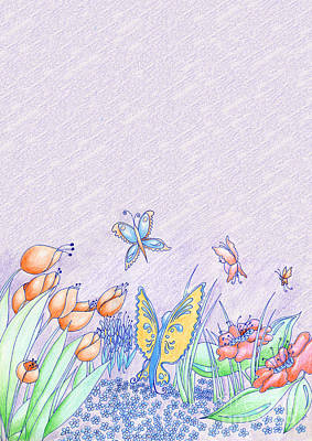 Easter Celebration Drawing - Spring Flowers And Butterflies Hand Drawn Background by Christina Rahm