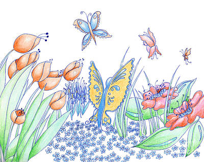 Easter Celebration Drawing - Spring Flowers And Butterflies Hand Drawn Background Pencil And  by Christina Rahm