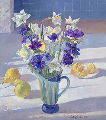 Lemon Painting - Spring Flowers And Lemons by Timothy  Easton