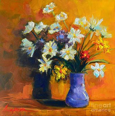 Interior Still Life Painting - Spring Flowers In A Vase by Patricia Awapara