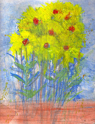 Naive Cartoon Painting - Spring Flowers by James Raynor
