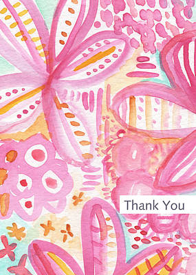Baby Shower Painting - Spring Flowers Thank You Card by Linda Woods