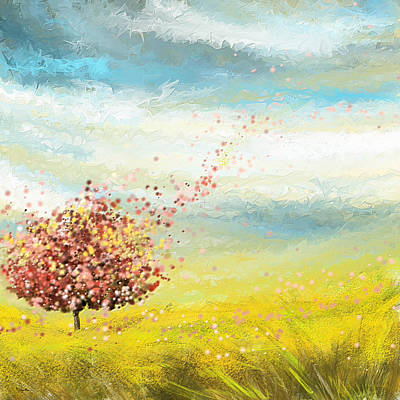 Pink And Yellow Painting - Spring-four Seasons Paintings by Lourry Legarde