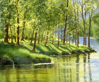 Peaceful Scenery Painting - Spring Green Trees With Reflections by Sharon Freeman