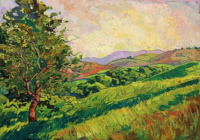 Print featuring the painting Spring Greens by Erin Hanson