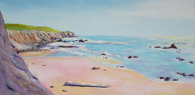 Art Print featuring the painting Spring Hills And Seashore At Bowling Ball Beach by Asha Carolyn Young