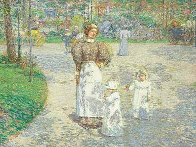 Pathway Painting - Spring In Central Park by Childe Hassam