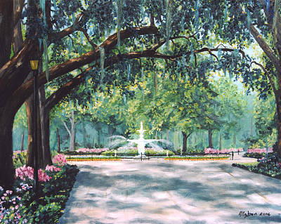 Fountain Wall Art - Painting - Spring In Forsythe Park by Stanton Allaben