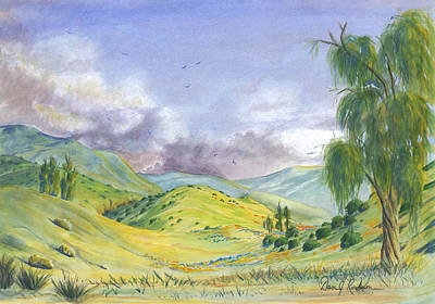 Lavender Drawing - Spring In The Corona Hills by Dan Redmon