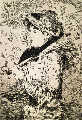 Female Portrait Drawing - Spring   Jeanne by Edouard Manet
