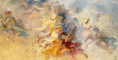 Floating Girl Painting - Spring by Jules Cheret