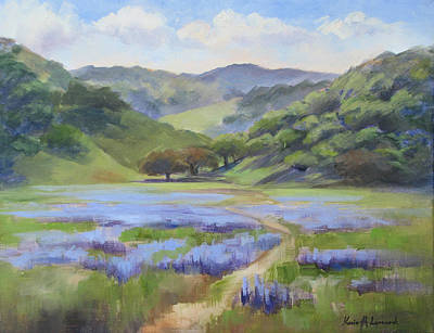 Lupines Painting - Spring Lupine by Karin  Leonard