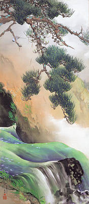 Waterfalls And Trees Landscape Painting - Spring Of Mountain by Yamamoto Shunkyo