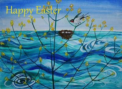 Painting - Spring On Lake Ontario Easter Card by Veronica Rickard