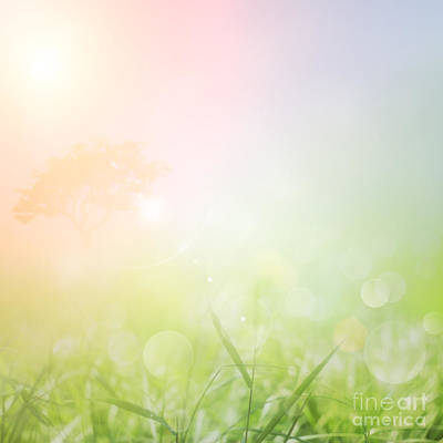 Beam Digital Art - Spring Or Summer Nature Sunset Background by Mythja  Photography