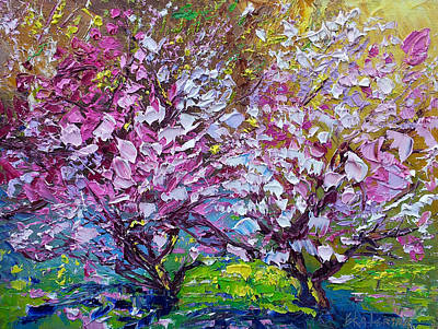 Spring Painting Of Pink Flowers On Magnolia Tree Fine Art By Ekaterina Chernova Art Print