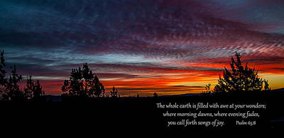 Photograph - Spring Peaceful Morning Sunrise Bible Verse Photography by Jerry Cowart