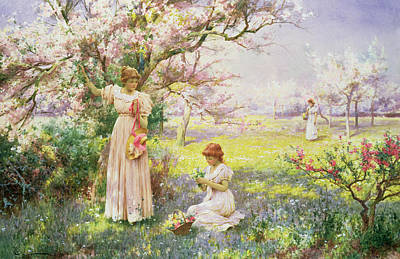 Trees Blossom Painting - Spring   Picking Flowers by Alfred Augustus I Glendenning