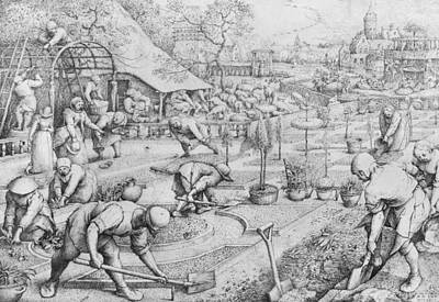 Farming Drawing - Spring by Pieter the Elder Bruegel
