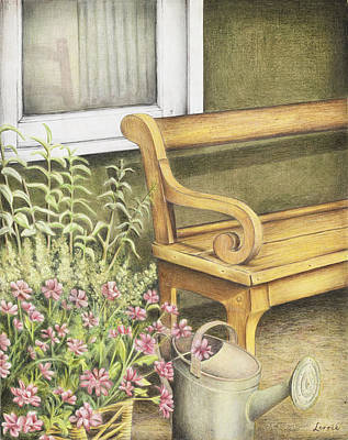 Window Bench Drawing - Spring Planting by Lorrie Anne Minicozzi