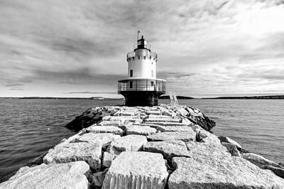 Photograph - Spring Point Ledge Light In Black And White by Jenny Hudson