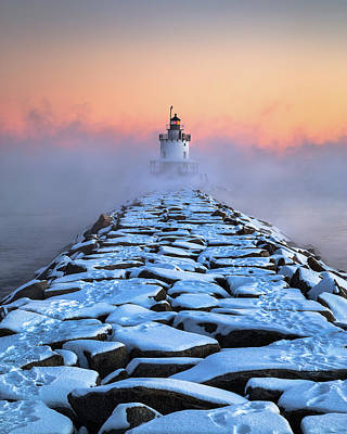 Portland Lighthouse Photograph - Spring Point Sea Smoke by Benjamin Williamson