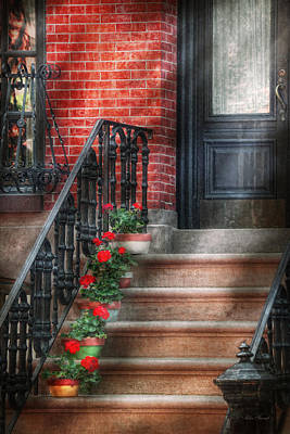Antique Ironwork Photograph - Spring - Porch - Hoboken Nj - Geraniums On Stairs by Mike Savad