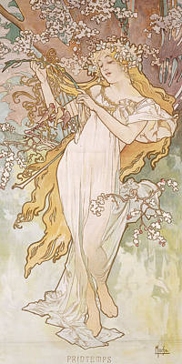 Blonde Drawing - Spring Printemps by Alphonse Marie Mucha