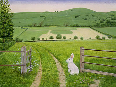 Field Wall Art - Painting - Spring Rabbit by Ditz
