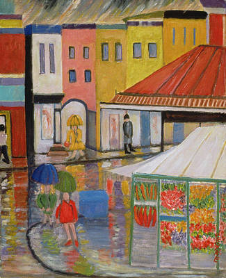 Shopper Painting - Spring Rain Bywood Market  by Patricia Eyre