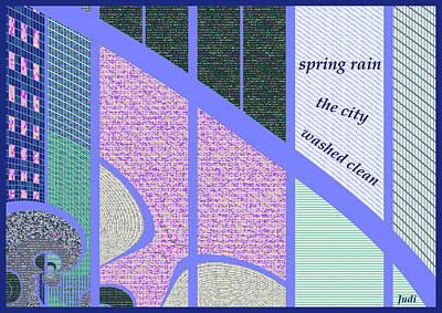 Digital Art - Spring Rain Haiga by Judi Suni Hall