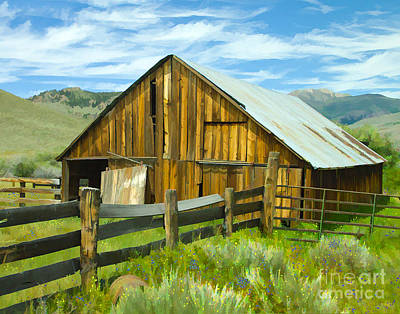 Digital Art - Spring Range Barn by L J Oakes