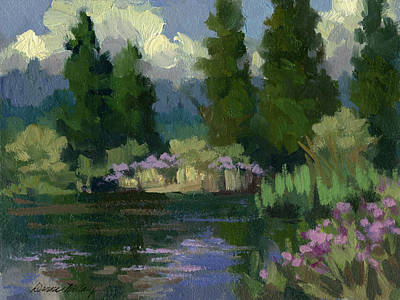 Spring Pond Painting - Spring Reflections At Harry's Pond by Diane McClary