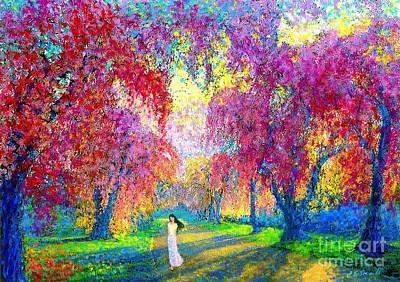 Mystical Landscape Painting - Spring Rhapsody, Happiness And Cherry Blossom Trees by Jane Small