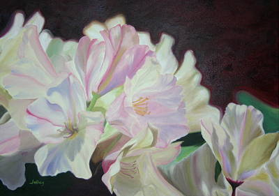 Art Print featuring the painting Spring Rhodys by Nancy Jolley