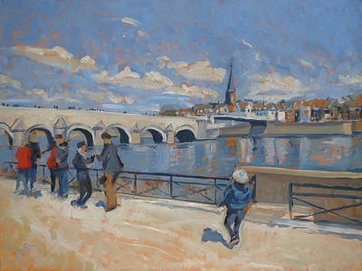 Meuse Painting - Spring Stroll Along The Maas In Maastricht by Nop Briex