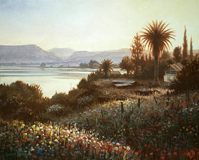 Cedars Painting - Spring Sunset  Northern Galilee by Graham Braddock